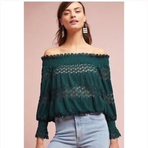 Anthro Deletta Riley Off The Shoulder Top Green